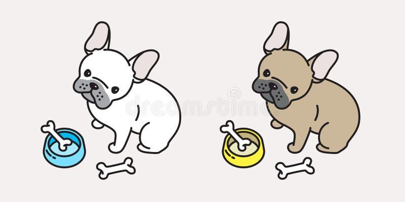 Psia wektorowa francuskiego buldoga ikony loga mopsa postać z kreskówki ilustracja ilustracja wektor