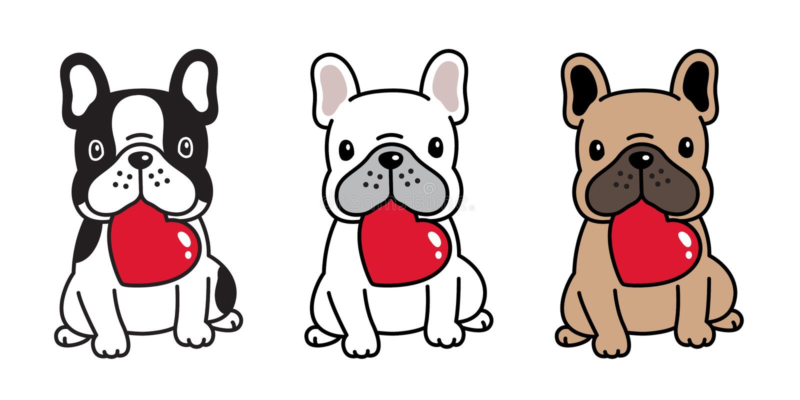 Psia wektorowa francuskiego buldoga valentine postaci z kreskówki ikony obsiadania uśmiechu logo trakenu kierowa ilustracja ilustracja wektor