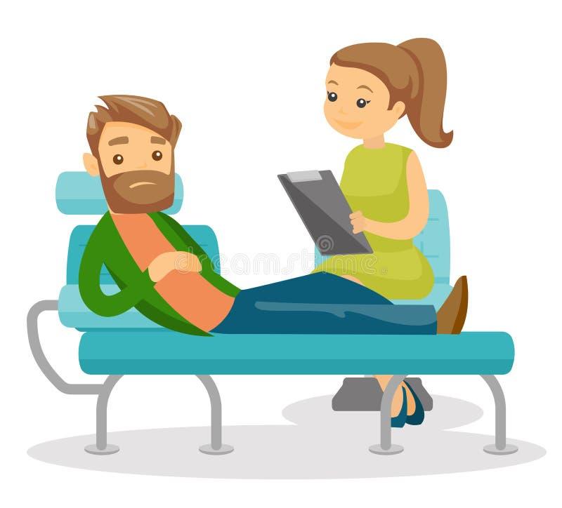 Psicólogo caucásico que tiene sesión con el paciente libre illustration