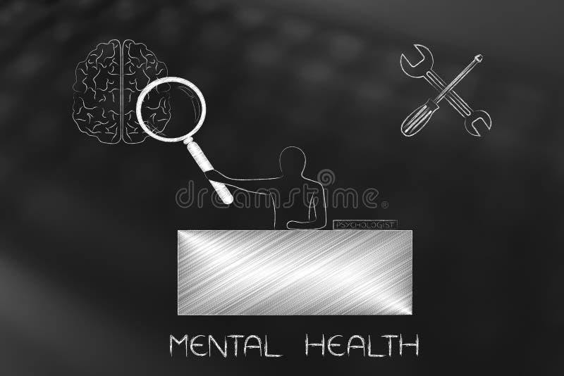Psicólogo con la lupa que analiza mente y con setti ilustración del vector