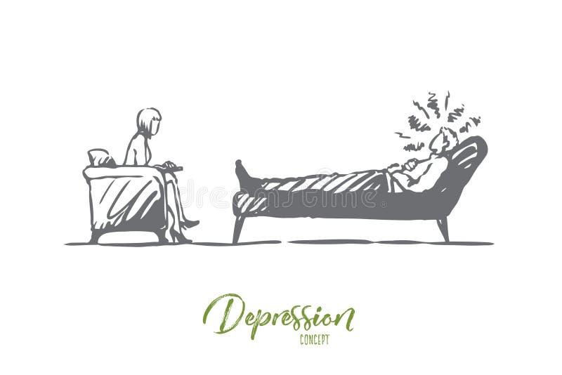 Psicólogo, doutor, paciente, terapia, conceito do esforço Vetor isolado tirado m?o ilustração do vetor