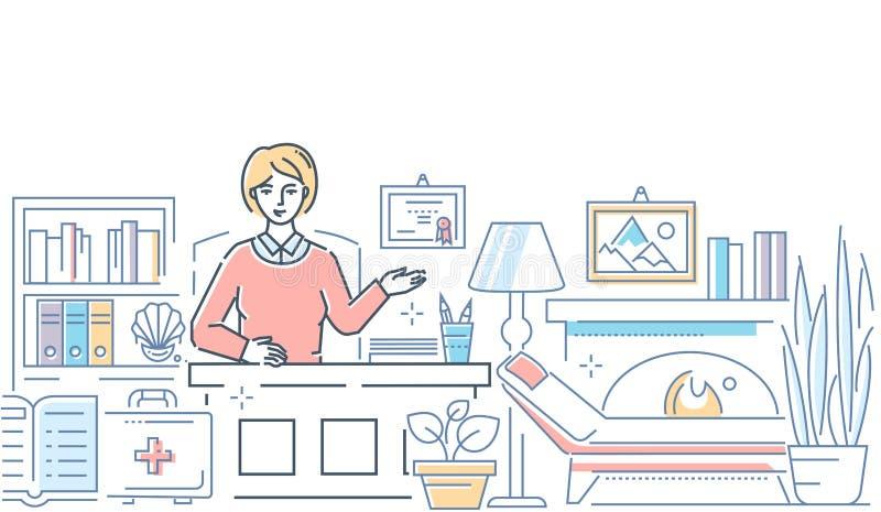 Psicólogo en el trabajo - línea moderna ejemplo del estilo del diseño libre illustration