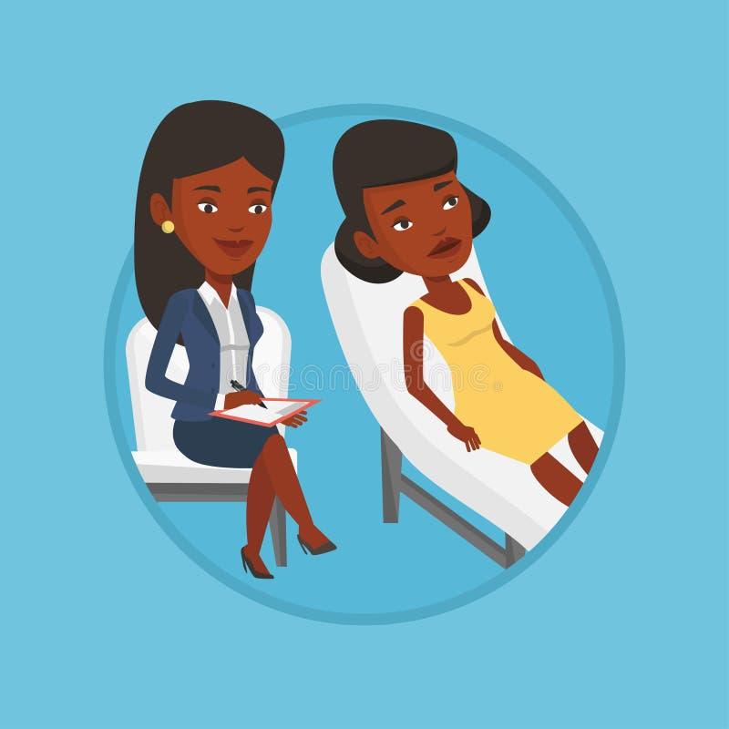 Psicólogo que tiene sesión con el paciente stock de ilustración