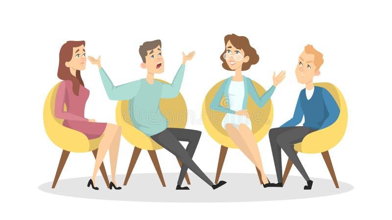 Psicólogos com pacientes ilustração royalty free