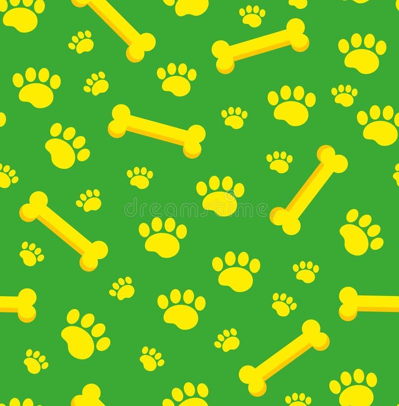 Psich kości bezszwowy wzór Kość i ślada szczeniak łap powtórkowa tekstura Doggy niekończący się tło wektor royalty ilustracja