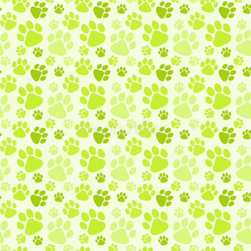 Psich Zielonych odcisków stopy Bezszwowy wzór ilustracja wektor