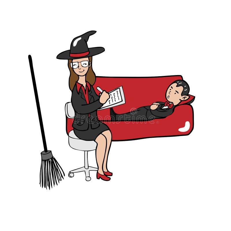 Psichiatra e vampiro della strega illustrazione di stock
