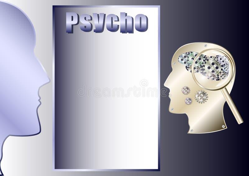 Psico, cervello umano sotto forma di ingranaggi, testa del robot del metallo illustrazione di stock