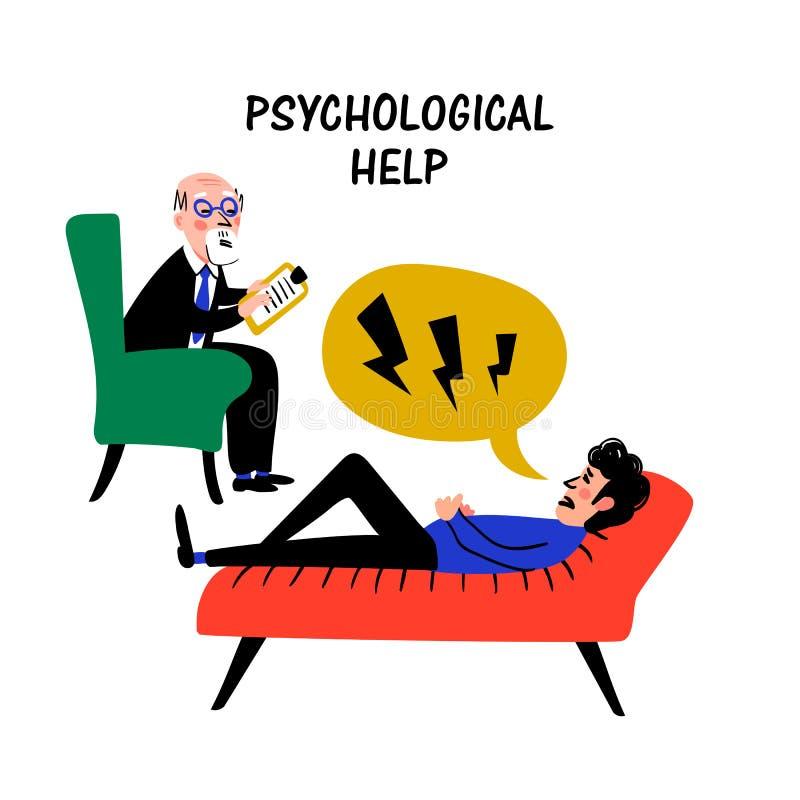 psicología Ayuda psicológica Doctor y paciente, hombre que miente en el sofá y que habla con el psicoterapeuta o el psicólogo ilustración del vector