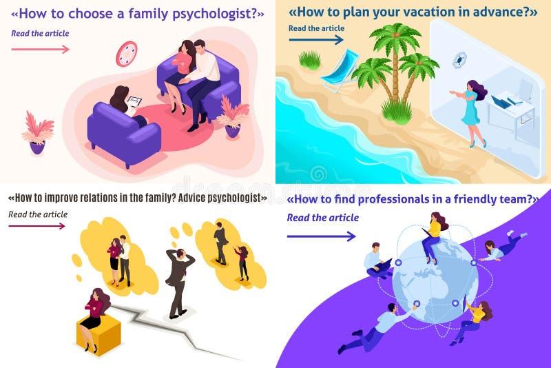 Psicología y conflictos isométricos de la familia stock de ilustración