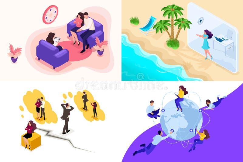 Psicología y conflictos isométricos fijados, vacaciones de la familia del concepto, independientes Para crear aplicaciones web libre illustration