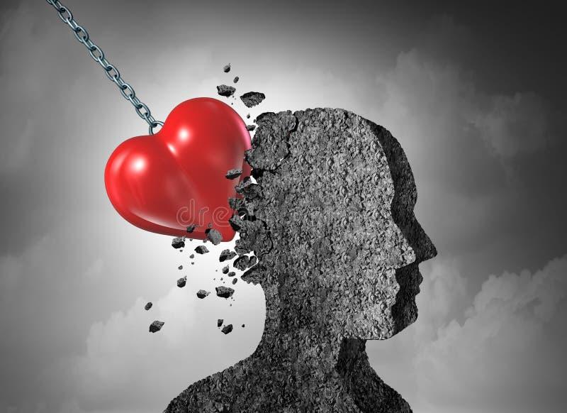 Psicologia da dor do amor ilustração stock