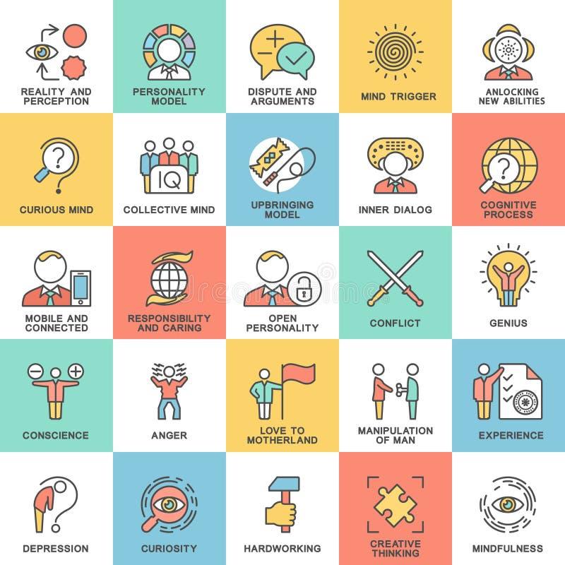 Psicologia da personalidade dos ícones ilustração stock