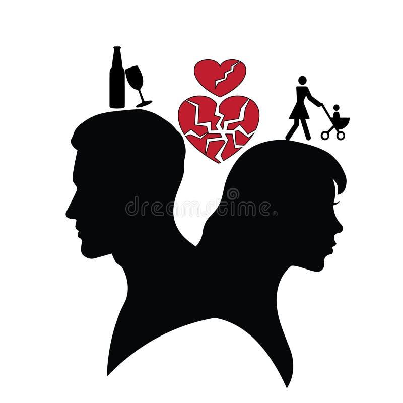 Psicologia das relações Silhueta do homem e da mulher ilustração do vetor