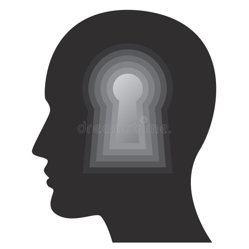 Psicologia, mente humana, pensamentos e conceito da inteligência com cara do homem ilustração stock
