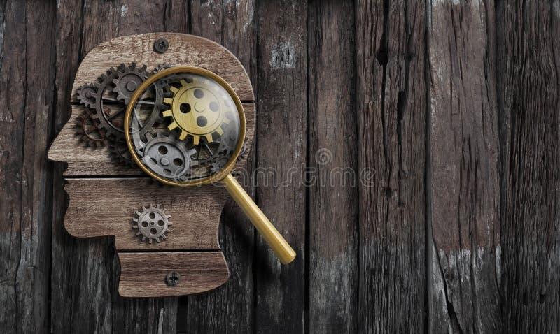 A psicologia ou inventa a concepção Modelo da função do cérebro fotografia de stock royalty free