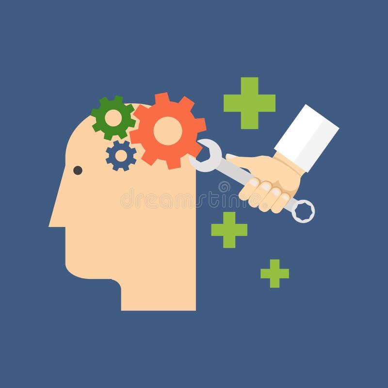 Psicologia, psicoterapia, conceito cura mental Projeto liso ilustração stock