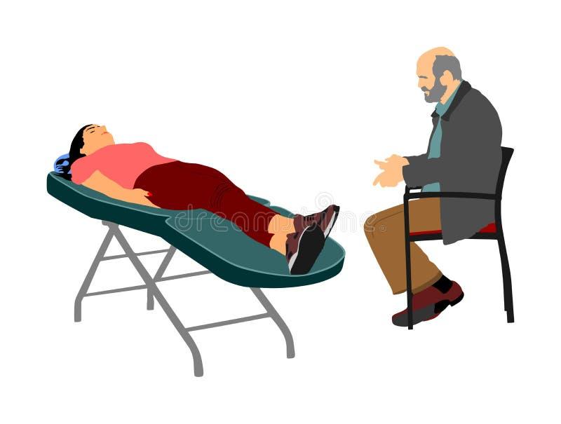 Psicologo Consulting ed ascoltare un problema emozionale mentale paziente Ritardi e braccia royalty illustrazione gratis