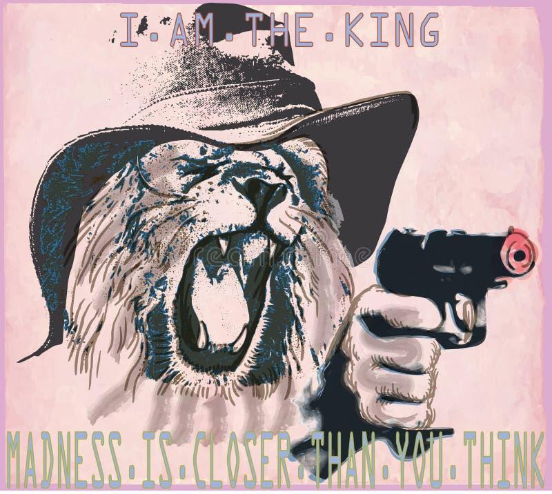 Psicopatico, leone il re - un vettore disegnato a mano illustrazione di stock