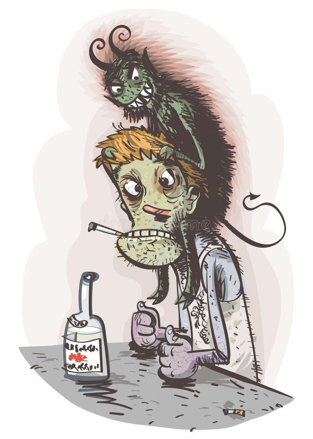 Psicosis alcohólica Ilustración EPS10 del vector imágenes de archivo libres de regalías