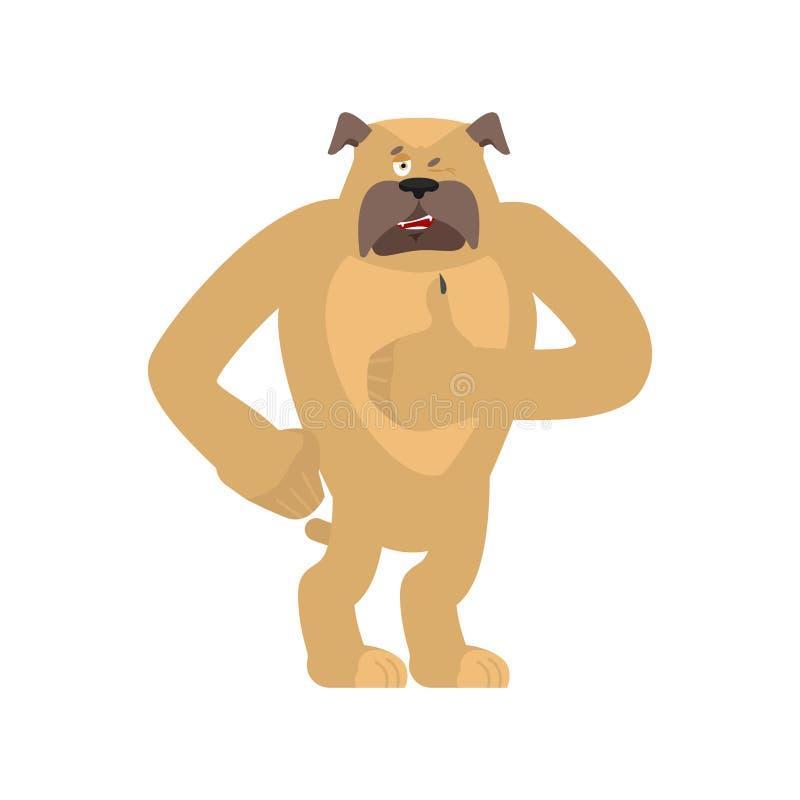 Psie aprobaty i mrugnięcia Zwierzęcia domowego szczęśliwy emoji Buldoga wektoru illustr ilustracji