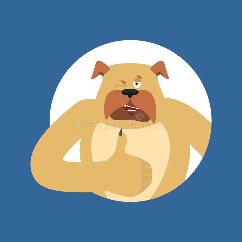Psie aprobaty i mrugnięcia Zwierzęcia domowego szczęśliwy emoji Buldoga wektoru illustr ilustracja wektor