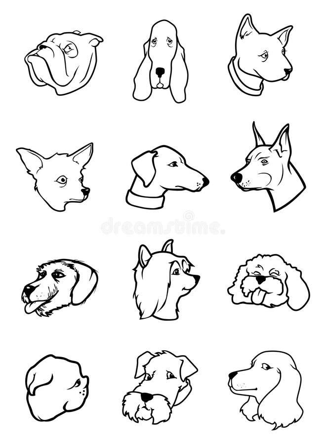 Download Psie kolekcj głowy ilustracja wektor. Obraz złożonej z traken - 18078612