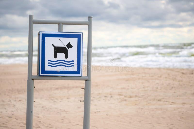 Psie znaki plażowe z piaskiem i fale łamane w tle Wiadomość, billboard ze znakiem pozwalającym psom być na plaży fotografia royalty free