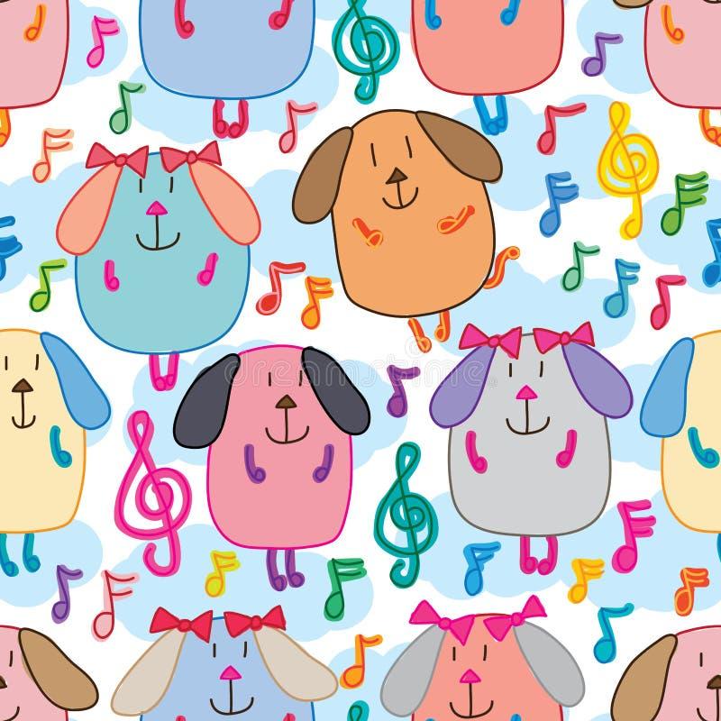 Psiego muzyki notatki tana szczęśliwego nieba bezszwowy wzór ilustracji