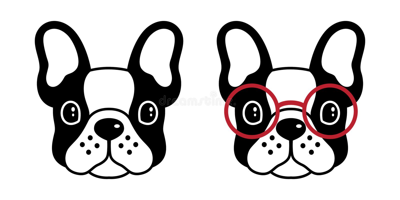 Psiego wektorowego francuskiego buldoga mopsa ikony loga szkieł postać z kreskówki symbolu ilustracyjny czerń ilustracji