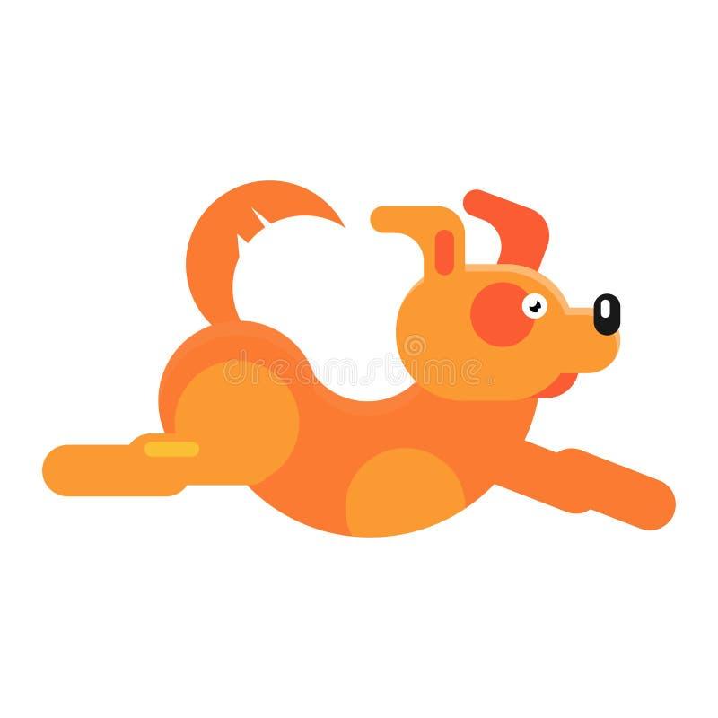 Psiego wektorowego małego psina szczeniaka charakteru zwierzęcy bieg Ilustracja płaski doggy mały doggish kieł odizolowywający da ilustracji