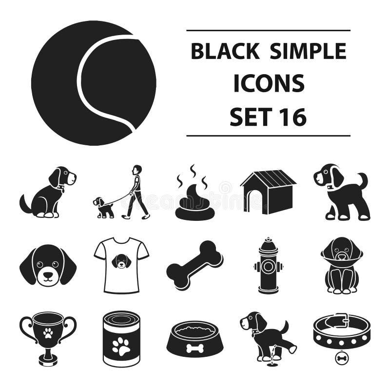 Psiego wyposażenia ustalone ikony w czerń stylu Dużego kolekcja psa wyposażenia symbolu zapasu wektorowa ilustracja ilustracja wektor