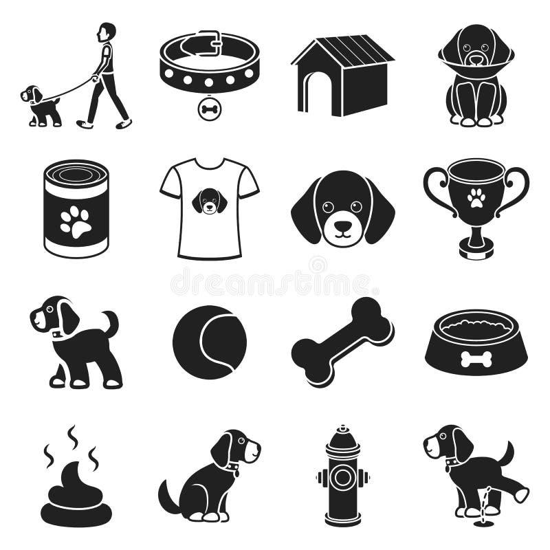 Psiego wyposażenia ustalone ikony w czerń stylu Dużego kolekcja psa wyposażenia symbolu zapasu wektorowa ilustracja royalty ilustracja