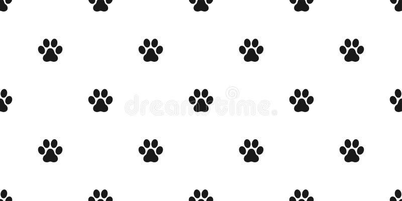 Psiej łapy druku łapy kota szczeniaka figlarki Bezszwowa Deseniowa wektorowa nożna tapeta odizolowywał tło biel ilustracja wektor