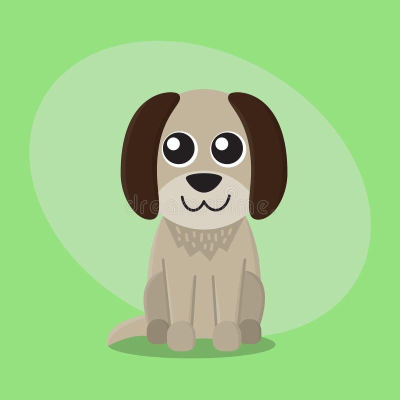 Psiej kreskówki szczeniaka zwierzęcia domowego zwierzęcia zoo płaska śliczna karta dla dzieciaka charakteru royalty ilustracja