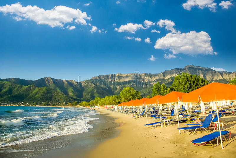 Psili Ammos beach, Thassos island, Greece stock photo
