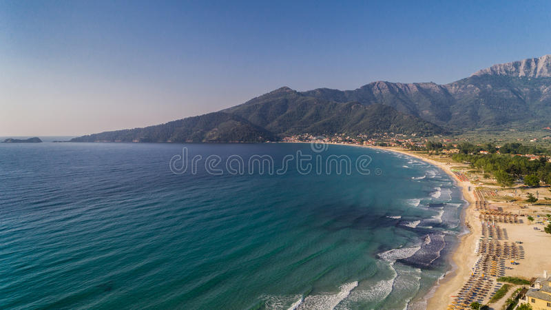 Psili Ammos beach, Thassos island, Greece. It is known as Golden beach. It is situated between Skala Panagia and Skala Potamia royalty free stock images