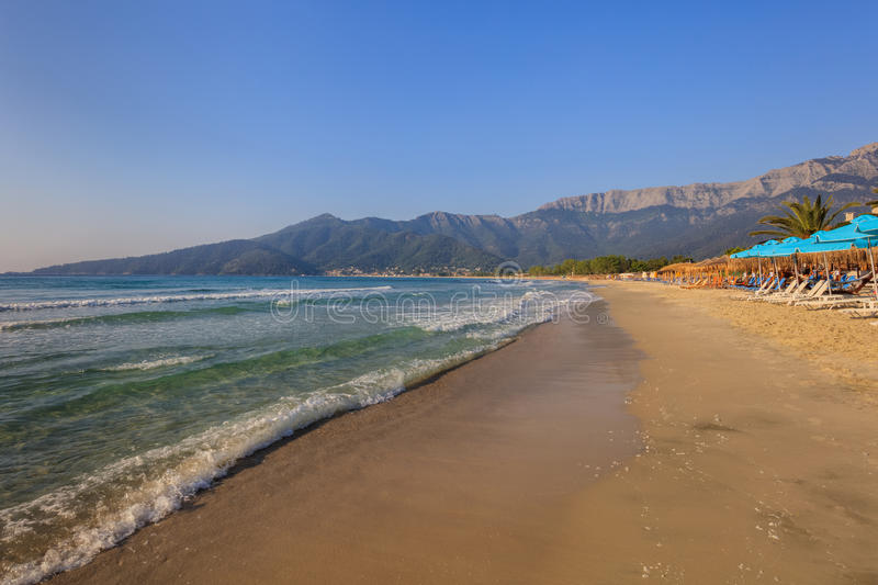 Psili Ammos beach, Thassos island, Greece. It is known as Golden beach. It is situated between Skala Panagia and Skala Potamia stock photography