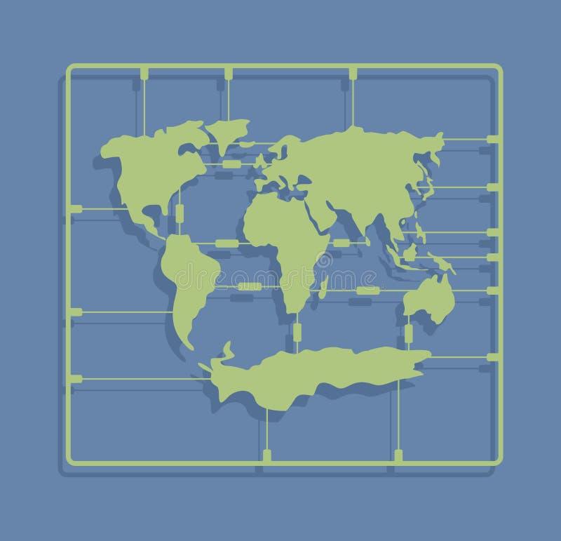 Psilosis de carte du monde ou jouet de moulage par injection Ki modèle en plastique de la terre illustration stock