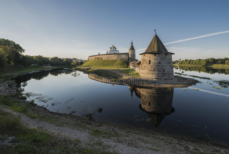 Pskov Kremlin at the confluence of two rivers Velikaya and Pskov royalty free stock images