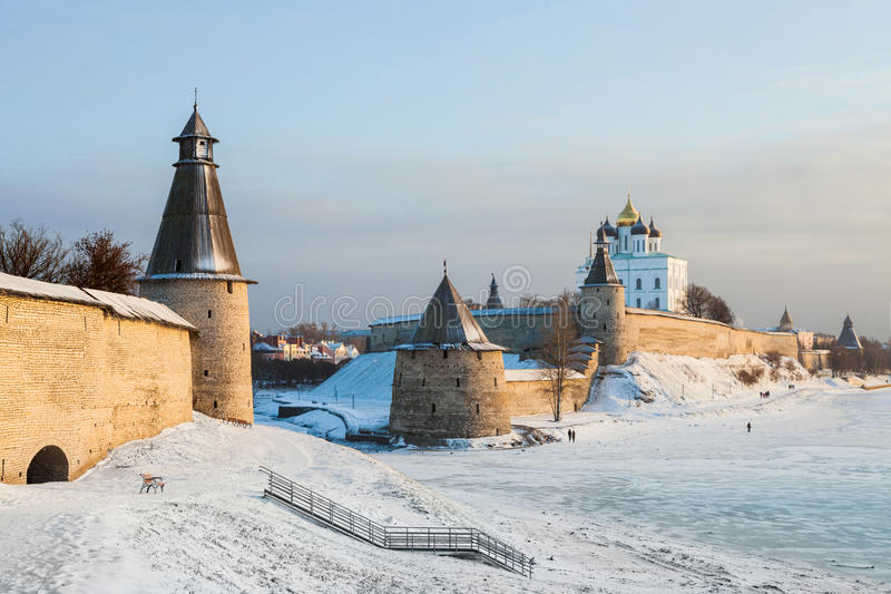 The Pskov Kremlin. The ensemble of the Pskov Kremlin in winter day stock image