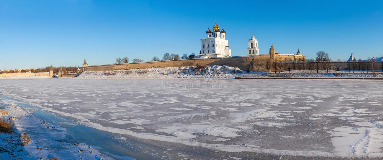 The Pskov Kremlin. The ensemble of the Pskov Kremlin in winter day stock photos