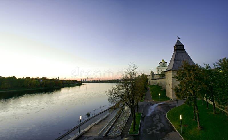 Pskov Kremlin. Evening panorama of the Pskov Kremlin royalty free stock photos