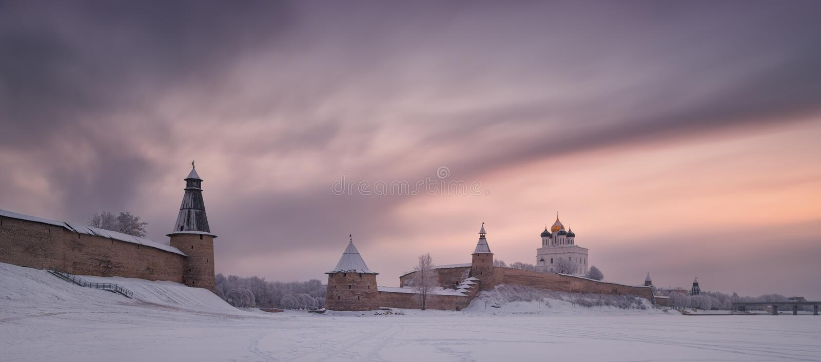 Pskov Kremlin Krom - Historical And Architectural Center Of The Ancient Russian City Pskov In The Winter Time. View From The F stock photos