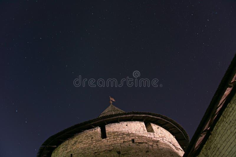 Pskov the Kremlin. Night sky over the Pskov Kremlin stock photography