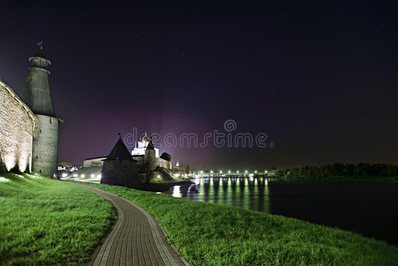 Pskov the Kremlin. Night view of the Pskov Kremlin stock image