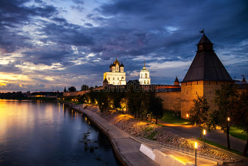Pskov Kremlin at sunset in Russia royalty free stock photography