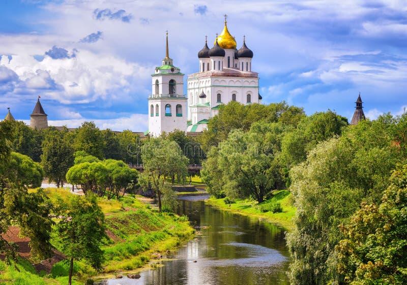The Pskov Kremlin and Trinity Church, Pskov, Russia royalty free stock photos