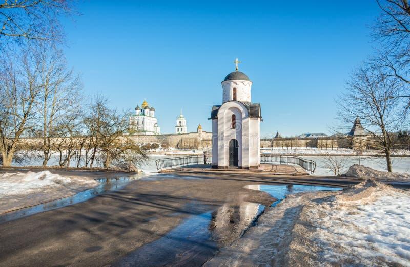 Pskov Krom van de Olginsky-Kapel stock foto