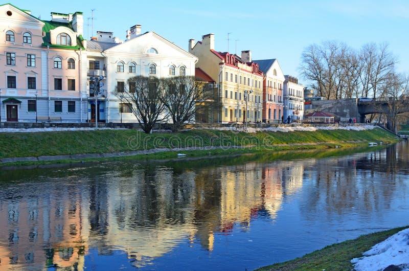 Pskov, Russia. Buildings on Sovetskaya embankment in the winter stock images